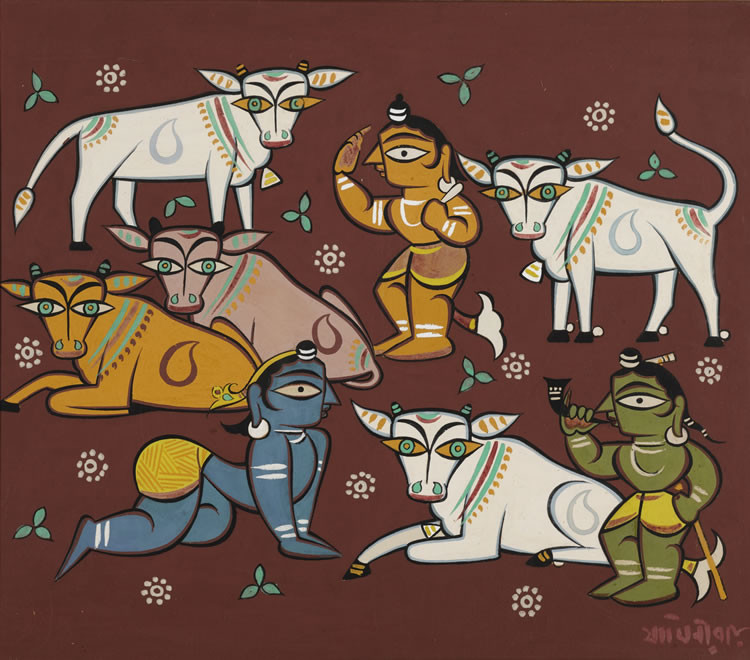 Untitled (Krishna with Cowherds) by Jamini Roy