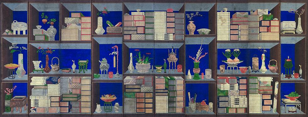 Chaekgeori, colors on paper, 10 panel-folding screen, 199x386cm.jpg