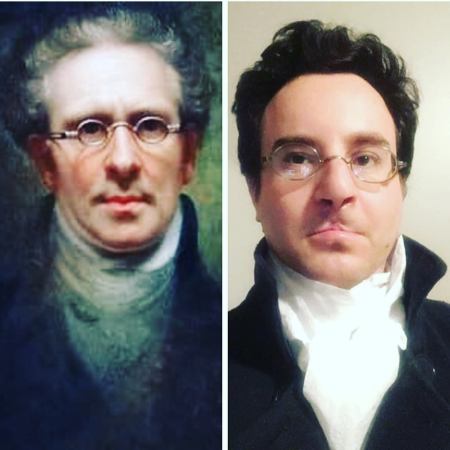 Rembrandt Peale's Self-Portrait next to a social media challenge recreated version