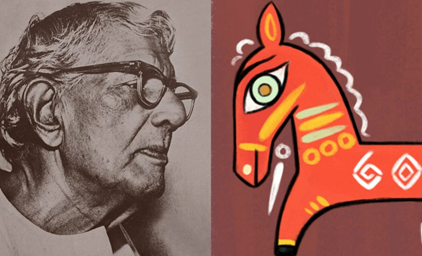 Jamini Roy (left), Black Horse by Jamini Roy (right)