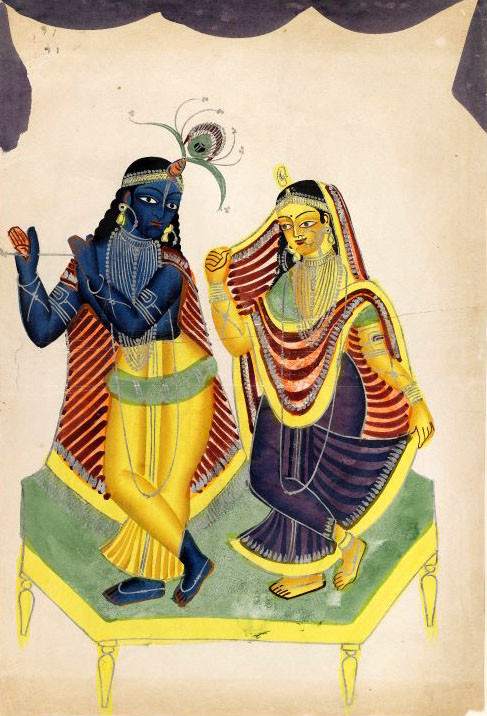 """Radha Krishna"" example of Kalighat painting"