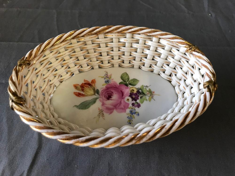 Gilded Porcelain Basket