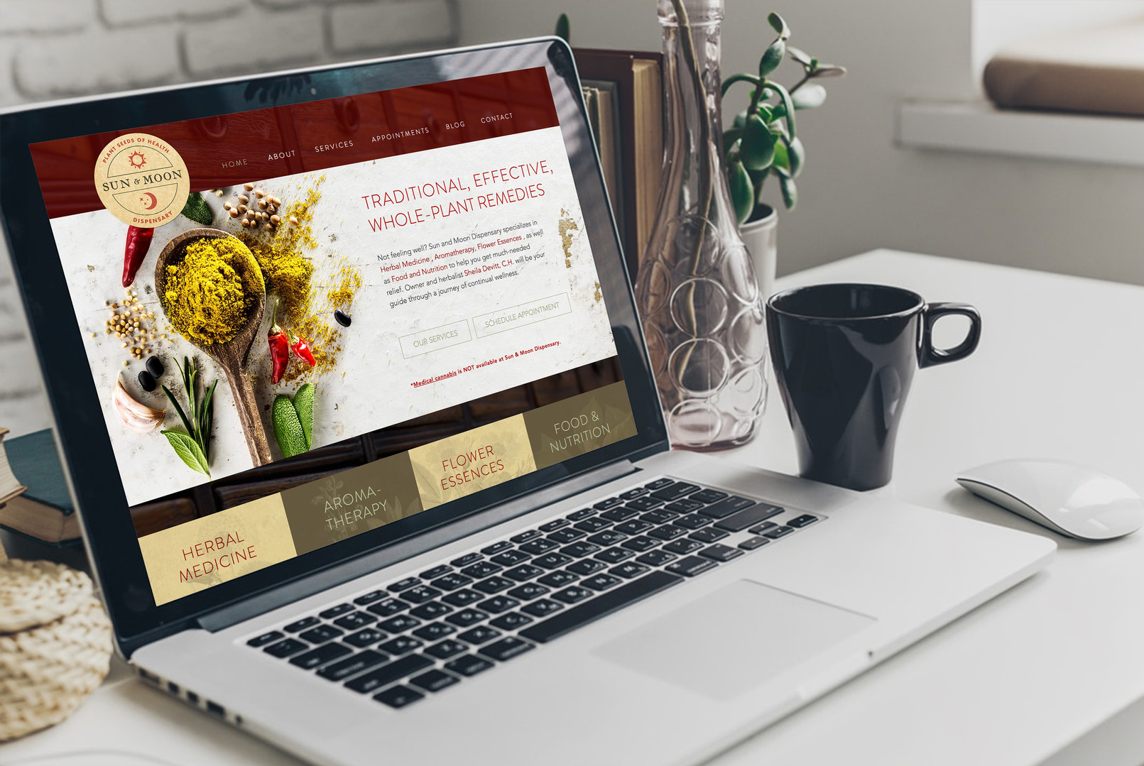 Sun and Moon Dispensary Website Mockup