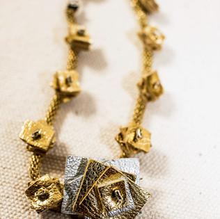 Golden & Silver Leather Braclet