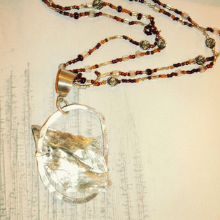 Mica Pendant with Beads