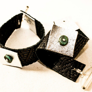 Embossed Leather Bracelet with Turquoise Beads