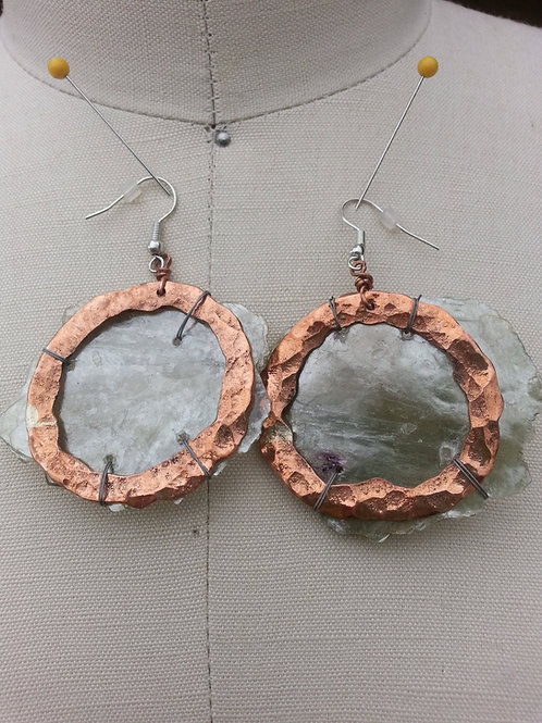 Mica & Copper Hoop Earrings