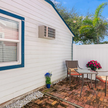 Private patio off studio has a separate entrance  to the cottage