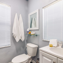 Clean bathroom at vacation cottage