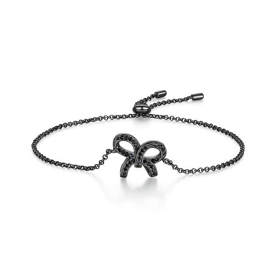 Bow-knot Bracelet Sterling Silver 18Ct Gold Plate Black