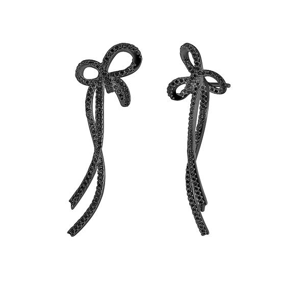 Bow-knot Long Earrings Sterling Silver Black