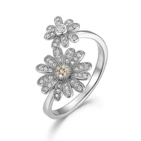 Sterling Silver Daisy Adjustable Ring