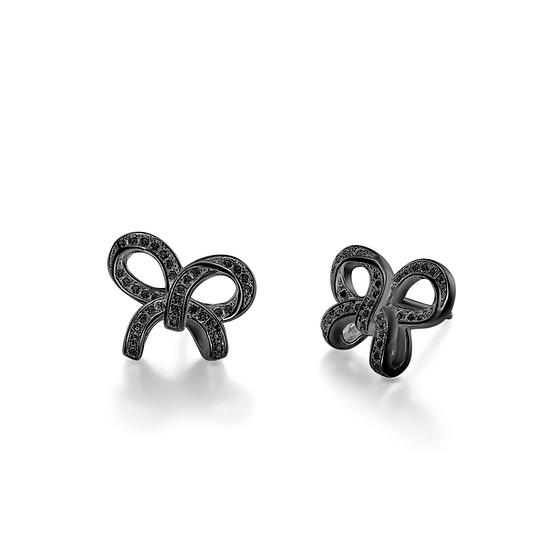 Bow-knot Stud Earrings Sterling Silver Black