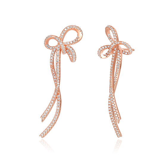 Bow-knot Long Earrings Sterling Silver Rose Gold