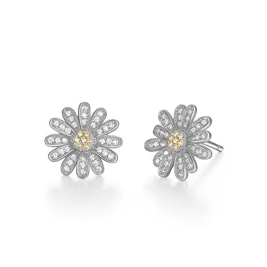Sterling Silver Daisy Stud Earrings Big