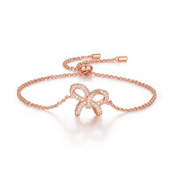 Bow-knot Bracelet Sterling Silver 18Ct Gold Plate Rose Gold