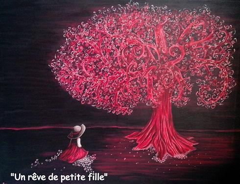 Tableau-arbre-rose-Le Monde d'Alex-Artiste peintre Roanne-Alexandra Daniere