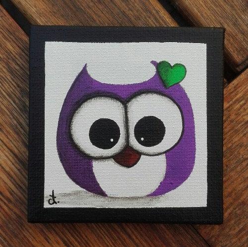 Magnet chouette violette