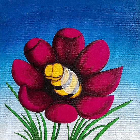 Chuuut - Tableau d'une abeille dans une fleur