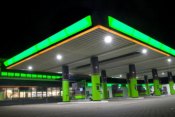 Green filling station at night.jpg