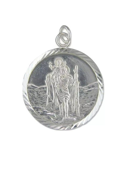 St. Christopher, Sterling Silver 925, 28mm Diameter, EXTRA large