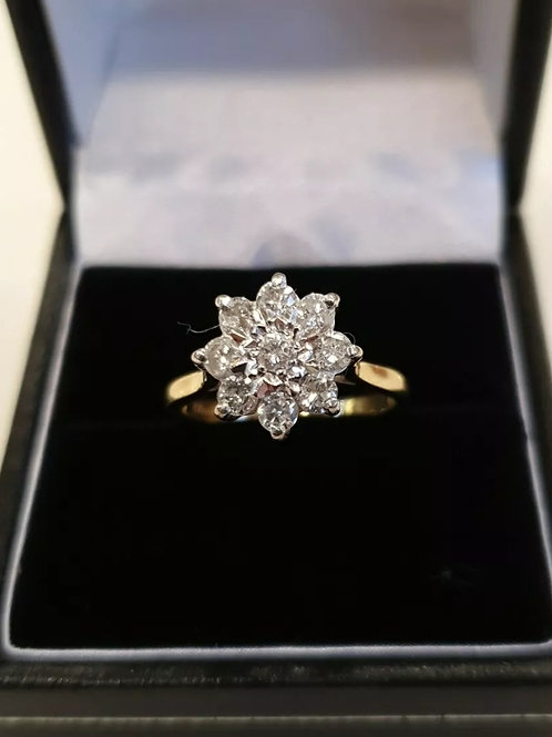 18ct yellow gold vintage diamond cluster, 63pts