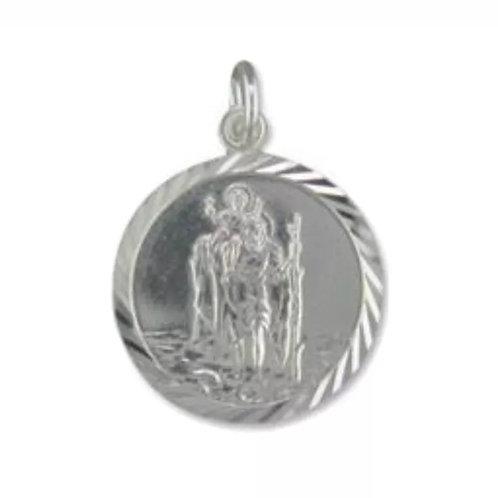 St. Christopher, Sterling Silver, 925, 18mm Diameter.