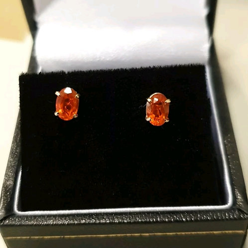 9ct yellow gold and fire opal stud earrings