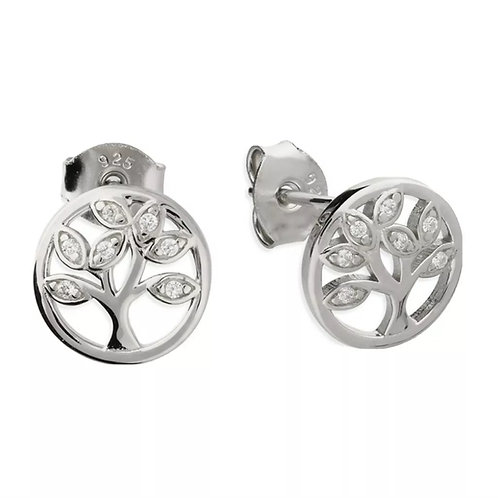Tree Of Life, Sterling Silver 925 & Cubic Zirconia Studs