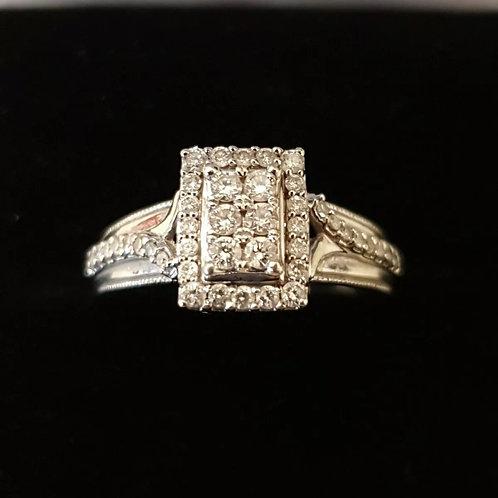 9ct 33pts, diamond cluster ring
