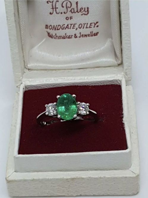 Vintage Platinum emerald and diamond Trilogy/ 3 stone