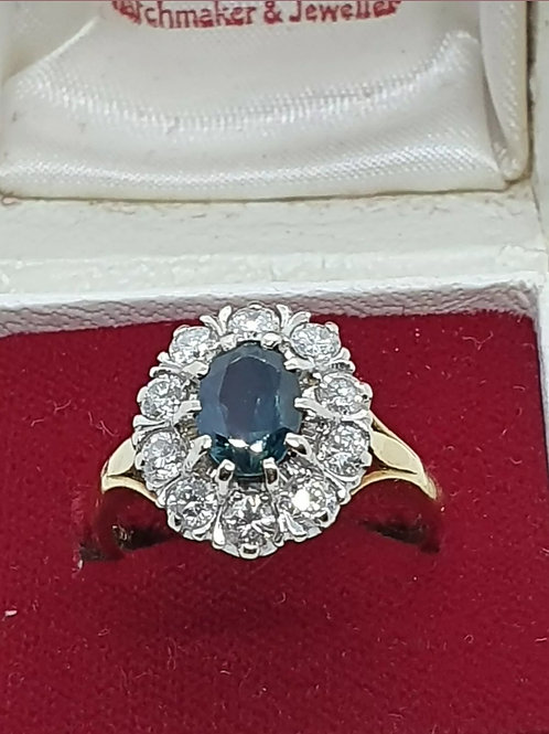 Vintage 18ct Sapphire And Diamond Ring