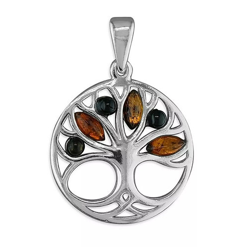 Amber & Sterling Silver 925 Tree Of Life Pendant