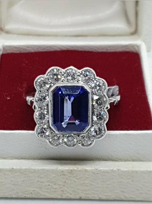 18ct Tanzanite And Diamond Art Deco Style Ring