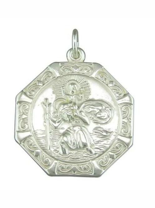 St Christopher, Sterling Silver 925, 23mm Diameter