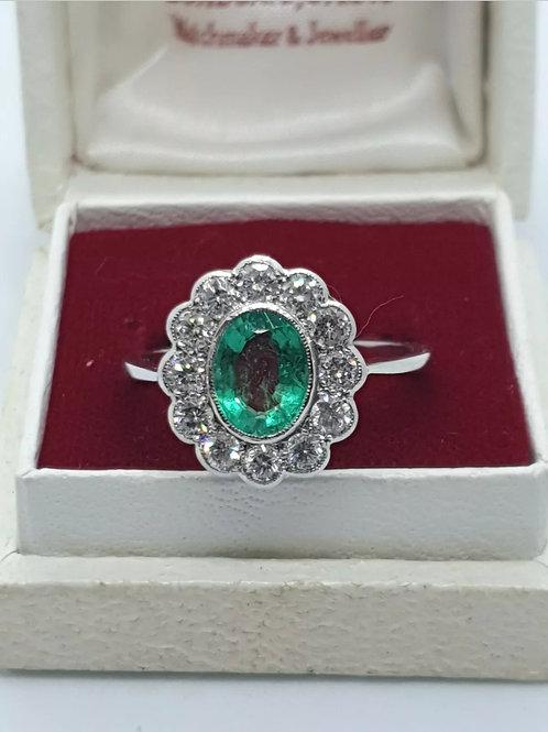 Platinum Emerald And Diamond Cluster Ring