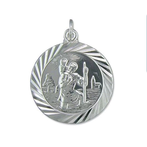 St Christopher, Sterling Silver 925, Double Sided, 26mm Diameter