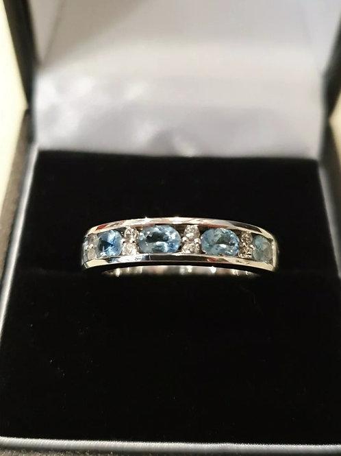 9ct White Gold Aquamarine And White Sapphire Eternity Ring