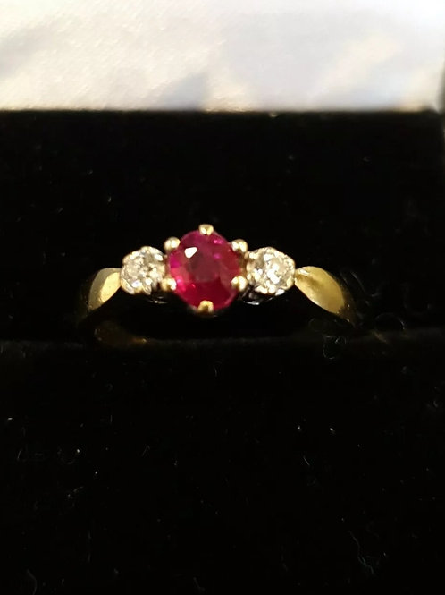 18ct Yellow Gold Ruby And Diamond Trilogy Ring