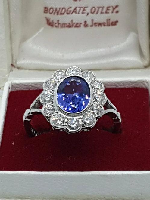 Platinum Tanzanite And Diamond Daisy Cluster Ring