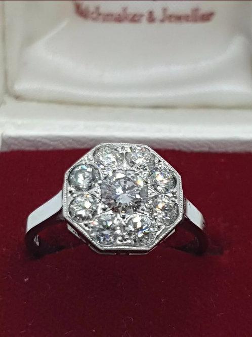 1.2ct Diamond, Platinum Hexagonal Ring