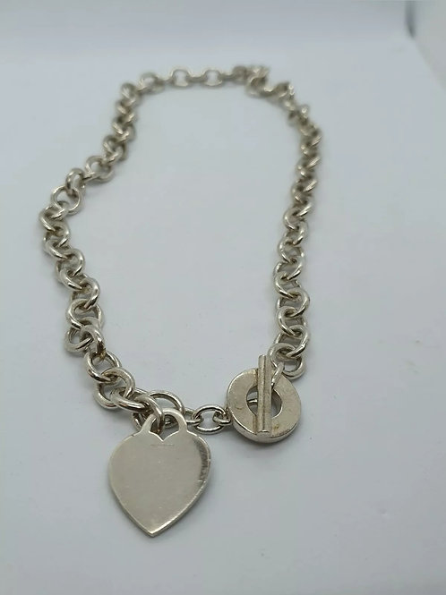 Heart and T-Bar, Sterling Silver 925 Necklace