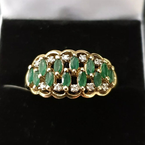 9ct yellow gold, Emerald and Diamond Ring