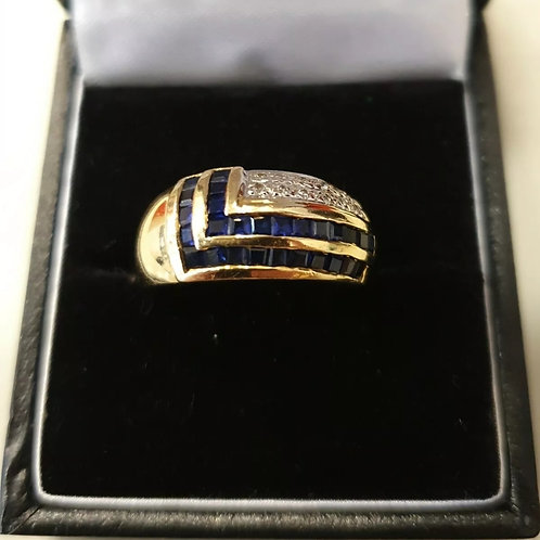 18ct Chunky Yellow Gold Diamond And Sapphire Band Ring