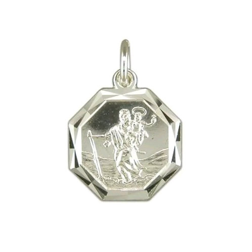 St Christopher, Sterling Silver 925, Octagonal.