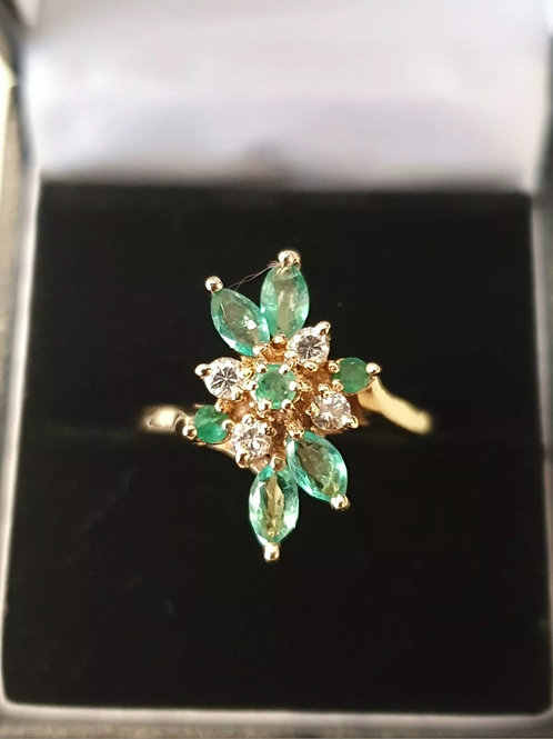14ct Yellow Gold Emerald And Diamond Cocktail Ring