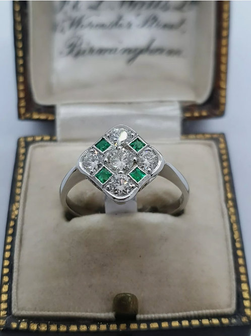 Platinum Chequor Board Emerald And Diamond  Ring