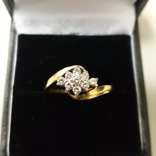 18ct Yellow Gold Diamond Cluster 40pts