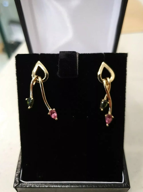 9ct Yellow Gold  Pink & Green Tourmaline Earrings