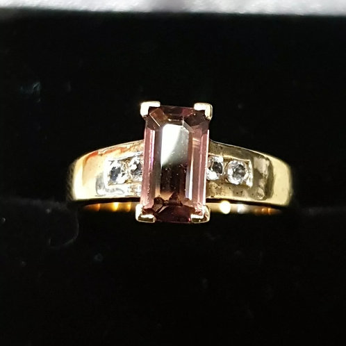 9ct yellow gold, Rhodolite Garnet and White Sapphire Ring
